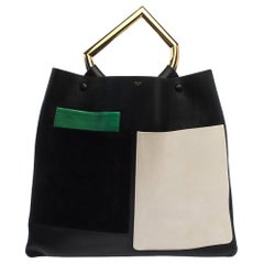 Celine Tricolor Leather and Suede Geometrical Bag