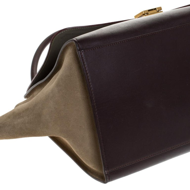 Celine Tricolor Leather and Suede Large Trapeze Bag For Sale 6