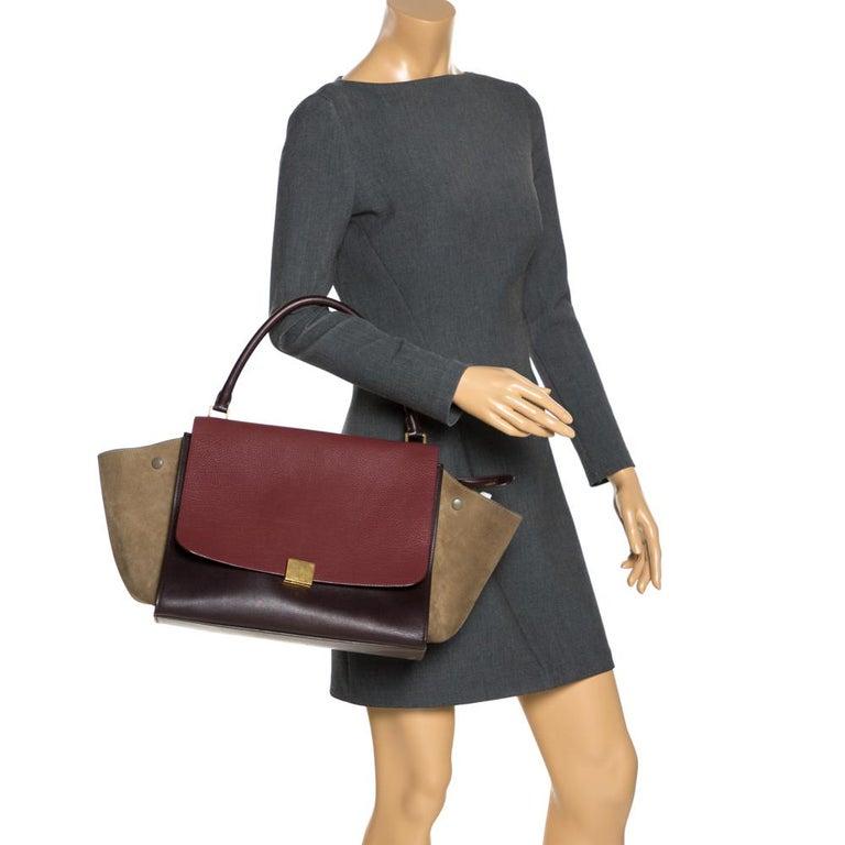 Celine Tricolor Leather and Suede Large Trapeze Bag In Good Condition For Sale In Dubai, Al Qouz 2