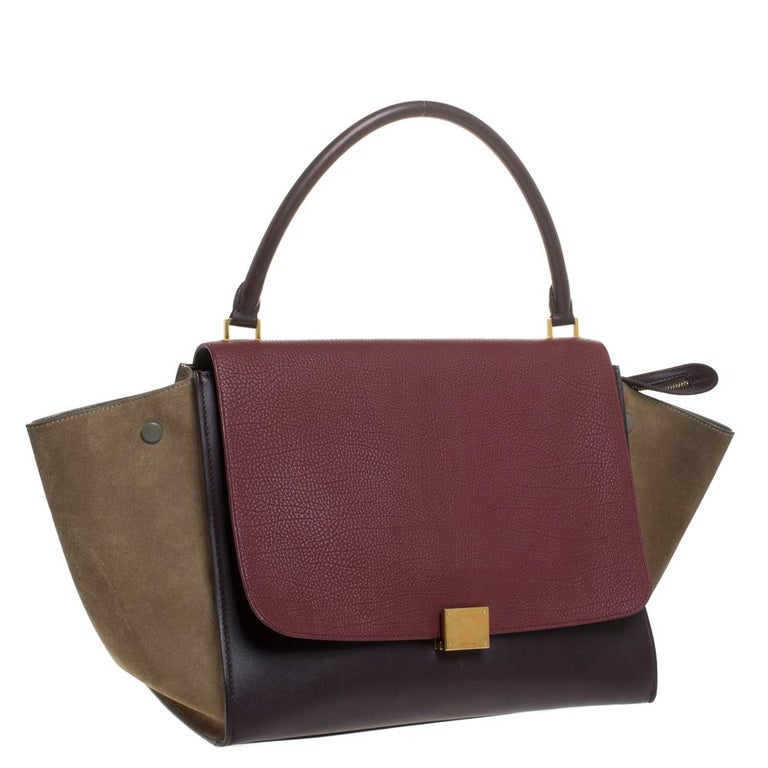 Women's Celine Tricolor Leather and Suede Large Trapeze Bag For Sale