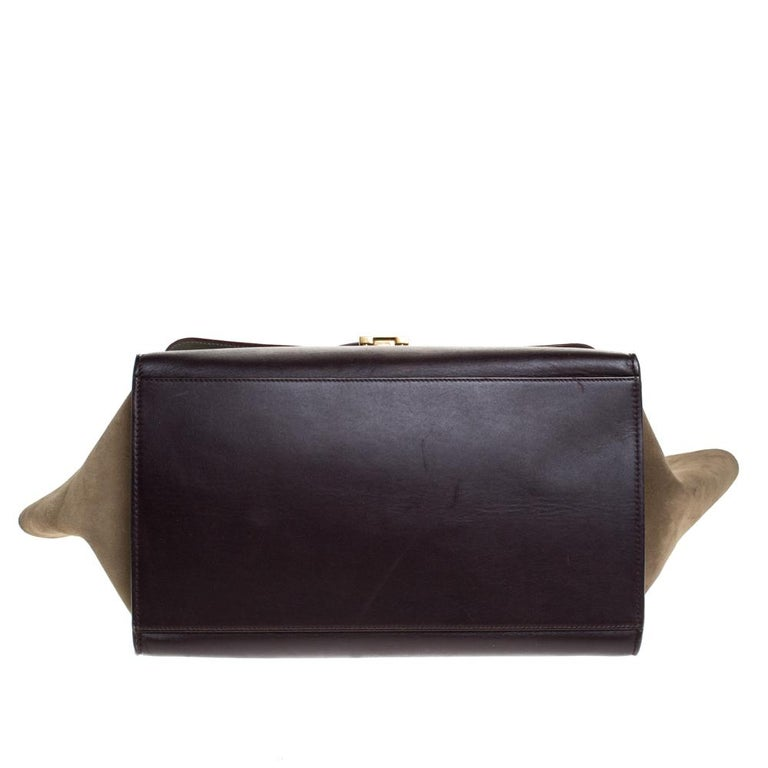 Celine Tricolor Leather and Suede Large Trapeze Bag For Sale 2