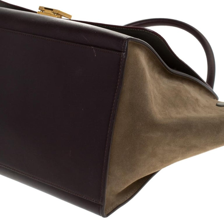 Celine Tricolor Leather and Suede Large Trapeze Bag For Sale 4
