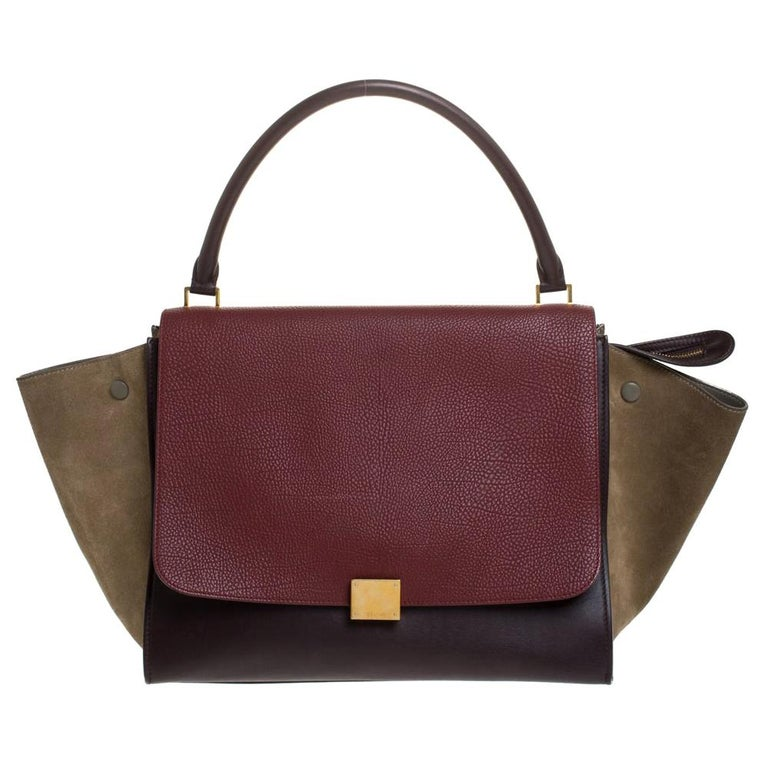 Celine Tricolor Leather and Suede Large Trapeze Bag For Sale