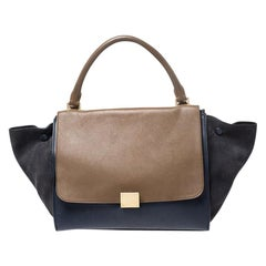 Celine Tricolor Leather and Suede Medium Trapeze Bag