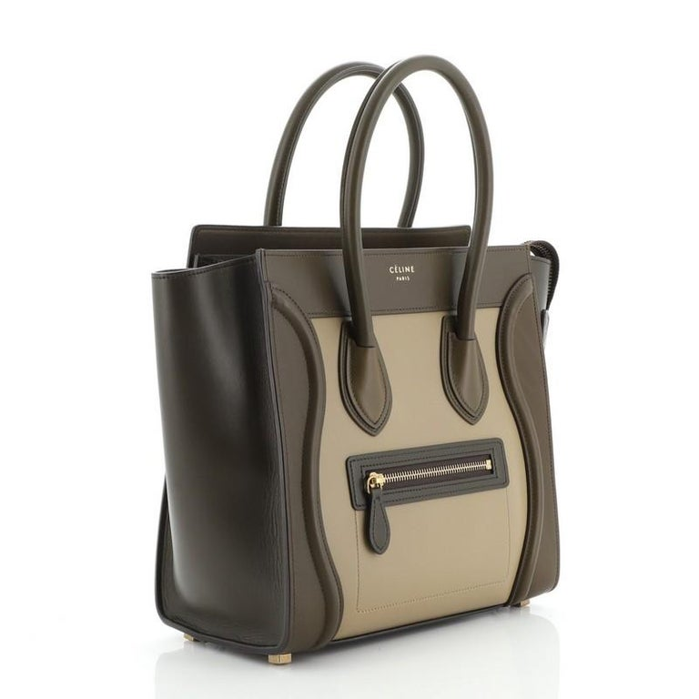 Brown Celine Tricolor Luggage Bag Leather Micro