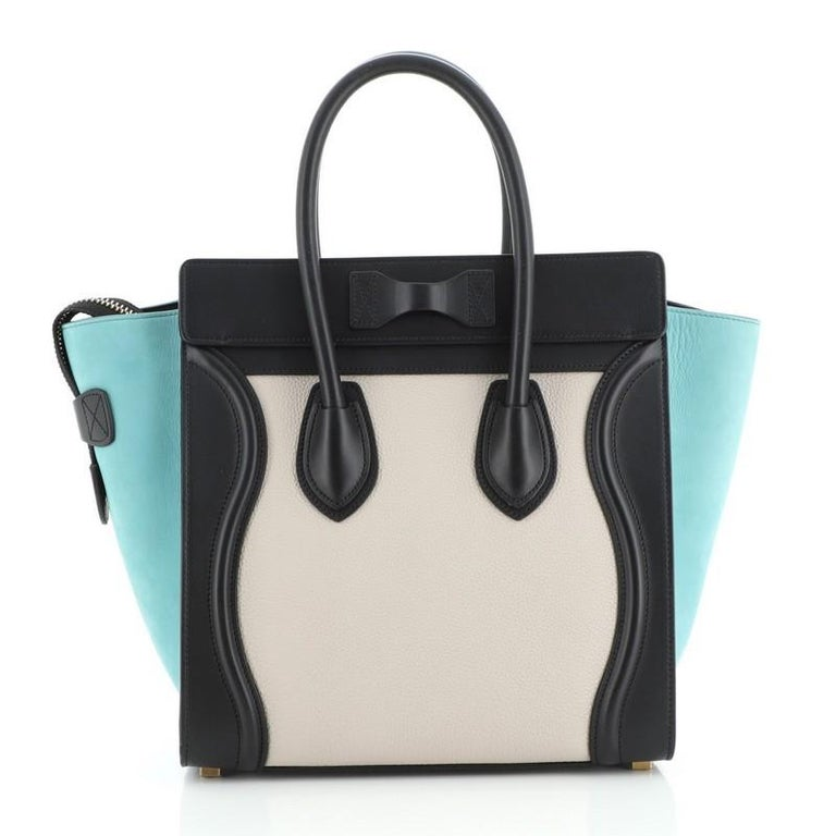 Black Celine Tricolor Luggage Bag Leather Micro For Sale