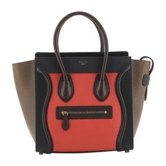 Celine Tricolor Luggage Bag Leather Micro