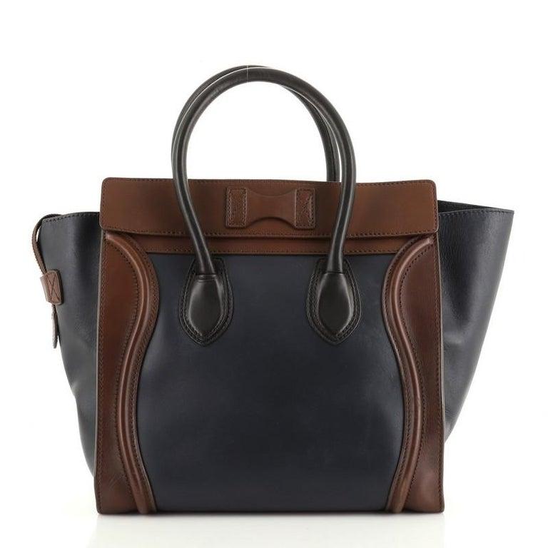 Black Celine Tricolor Luggage Bag Leather Mini For Sale