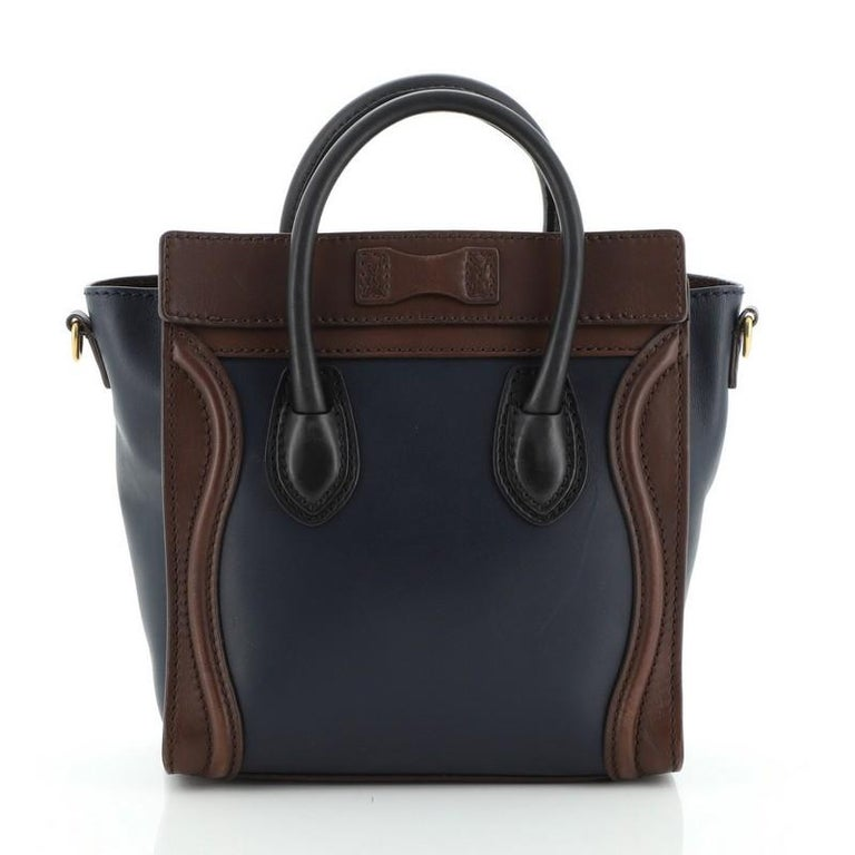 Black Celine Tricolor Luggage Bag Leather Nano For Sale