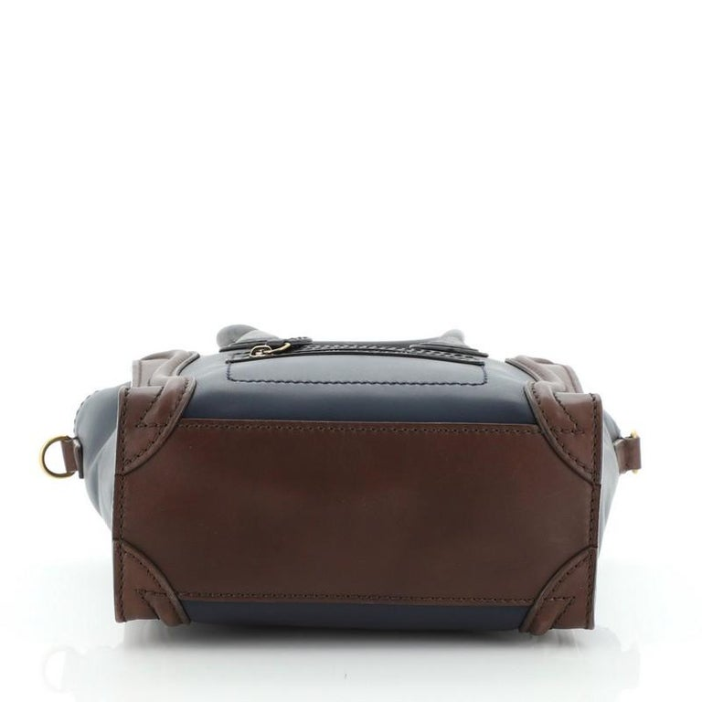 Celine Tricolor Luggage Bag Leather Nano In Good Condition For Sale In New York, NY