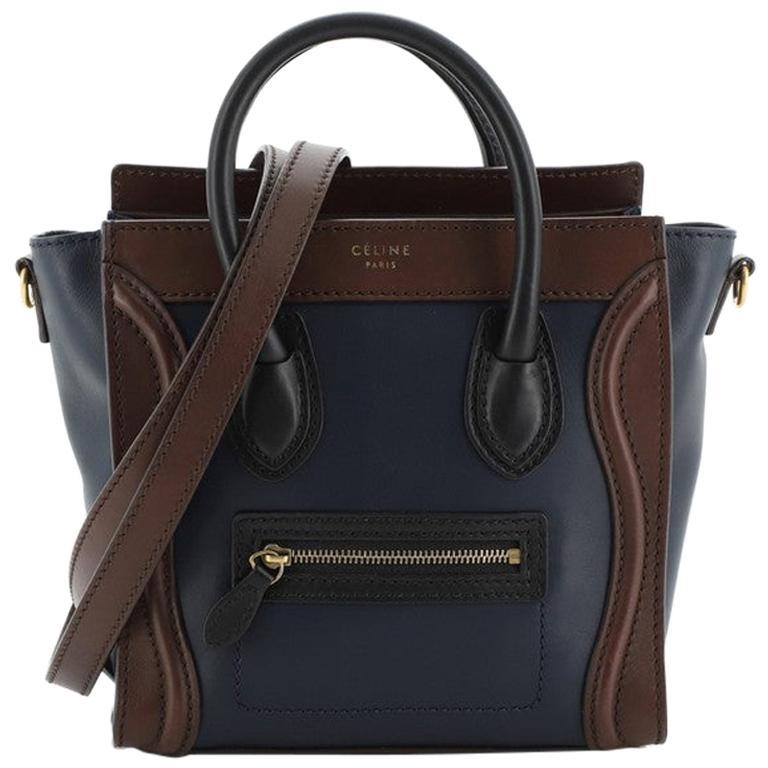 Celine Tricolor Luggage Bag Leather Nano For Sale