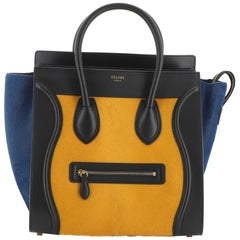 Celine Tricolor Luggage Bag Pony Hair and Leather Mini