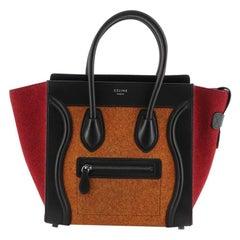 Celine Tricolor Luggage Handbag Felt Micro