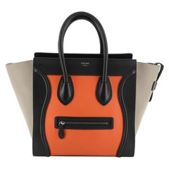 Celine Tricolor Luggage Handbag Leather Mini