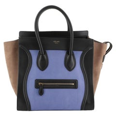 Celine Tricolor Luggage Handbag Nubuck Mini