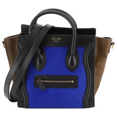 Celine Tricolor Luggage Handbag Pony Hair and Leather Nano