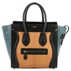 Celine Tricolor Luggage Handbag Python and Leather Micro