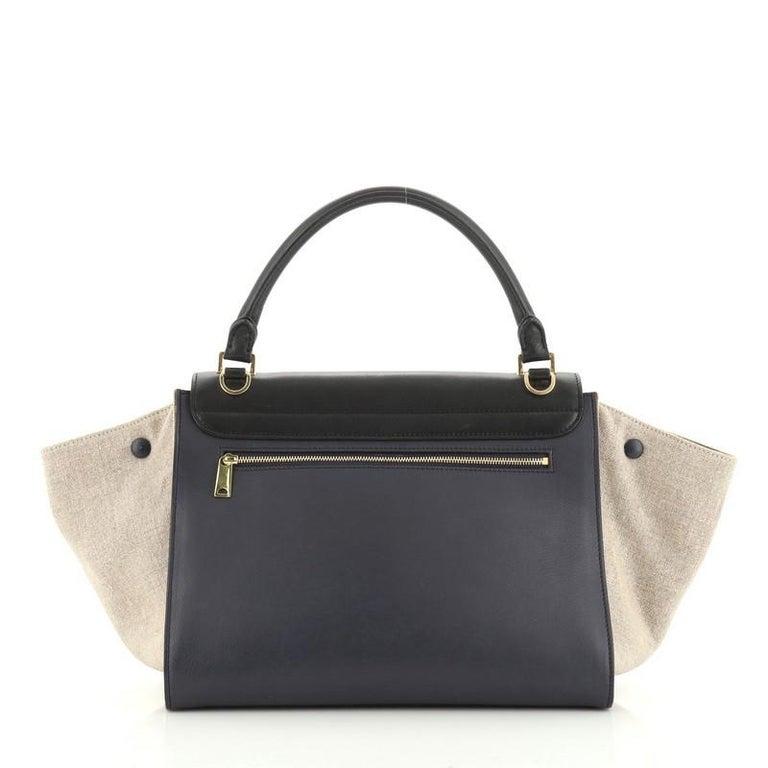 Black Celine Tricolor Trapeze Bag Leather Medium