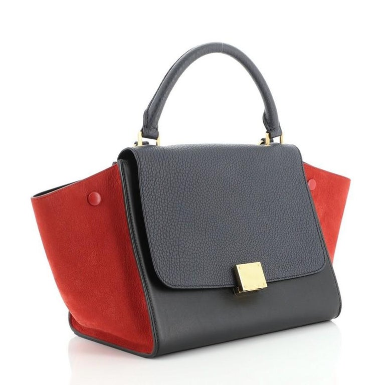 Celine Tricolor Trapeze Bag Leather Small In Good Condition For Sale In New York, NY