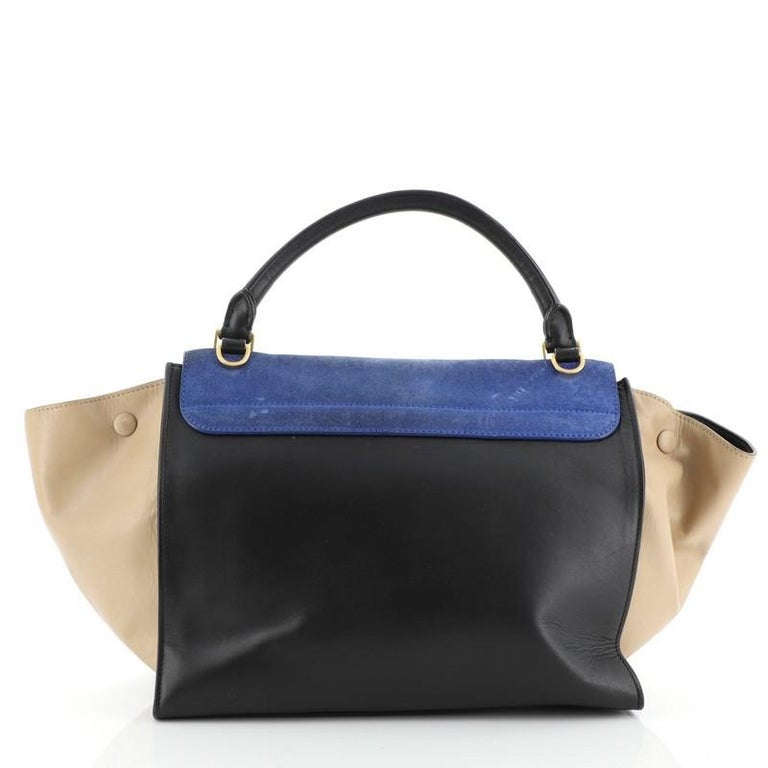 Celine Tricolor Trapeze Bag Suede Medium In Good Condition For Sale In New York, NY