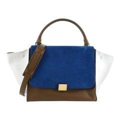 Celine Tricolor Trapeze Bag Suede Medium