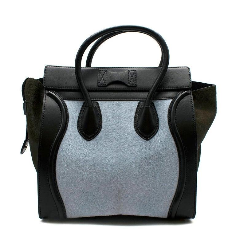 Black Celine Tricolour Leather & Pony Hair Mini Luggage Tote  For Sale