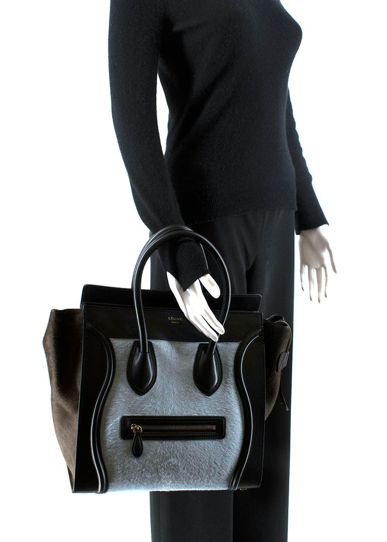 Celine Tricolour Leather & Pony Hair Mini Luggage Tote  For Sale 2