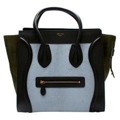 Celine Tricolour Leather & Pony Hair Mini Luggage Tote