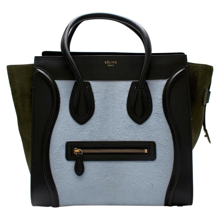 Celine Tricolour Leather & Pony Hair Mini Luggage Tote  For Sale