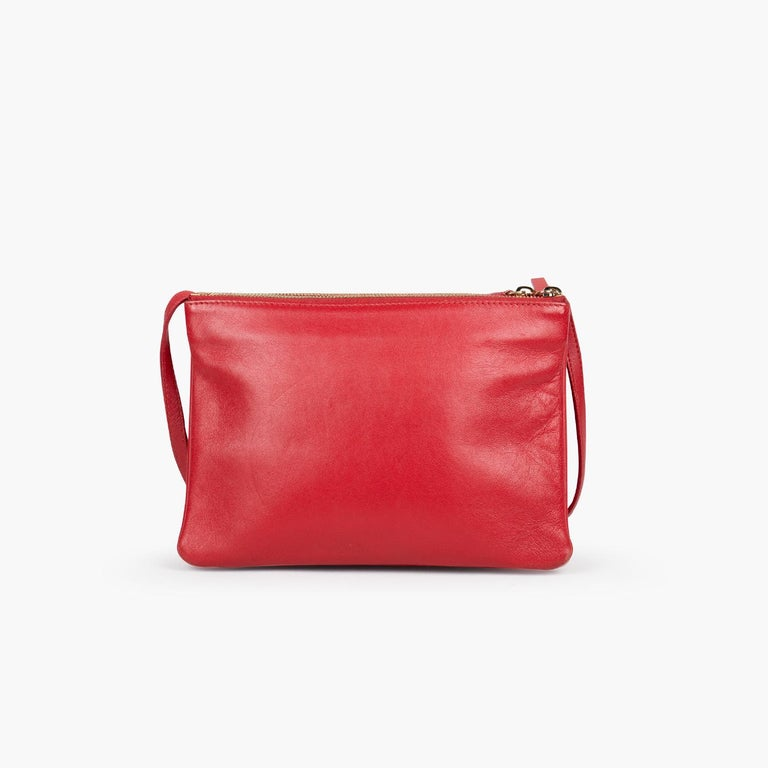 Red Celine Trio Crossbody Bag For Sale