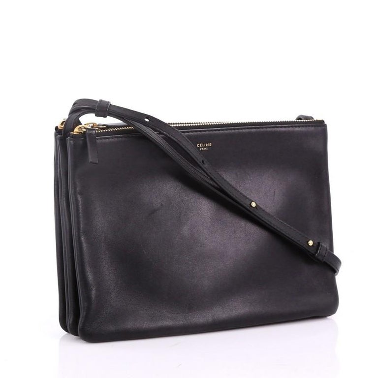 0da74660c3 Black Celine Trio Crossbody Bag Leather Large For Sale
