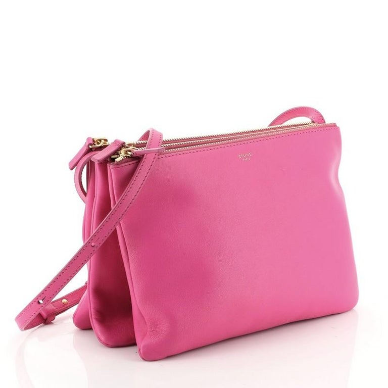 Pink Celine Trio Crossbody Bag Leather Large For Sale