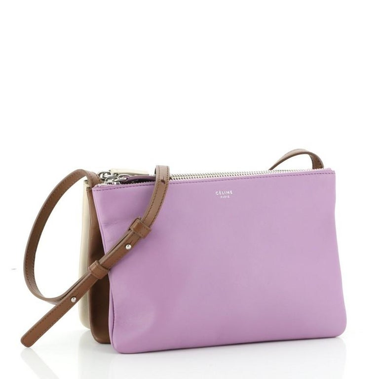 Celine Trio Crossbody Bag Leather Small In Good Condition For Sale In New York, NY