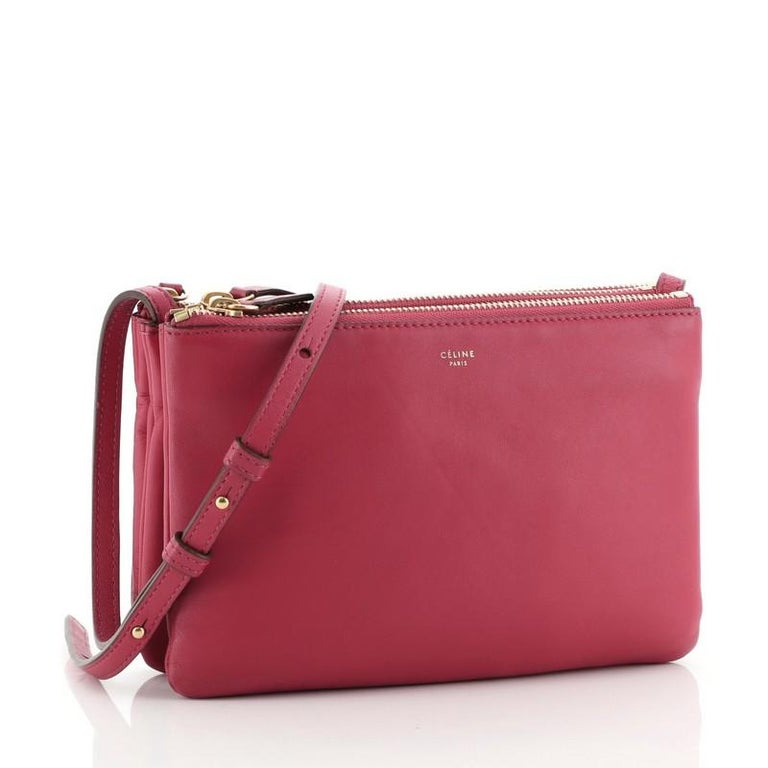 Red Celine Trio Crossbody Bag Leather Small For Sale
