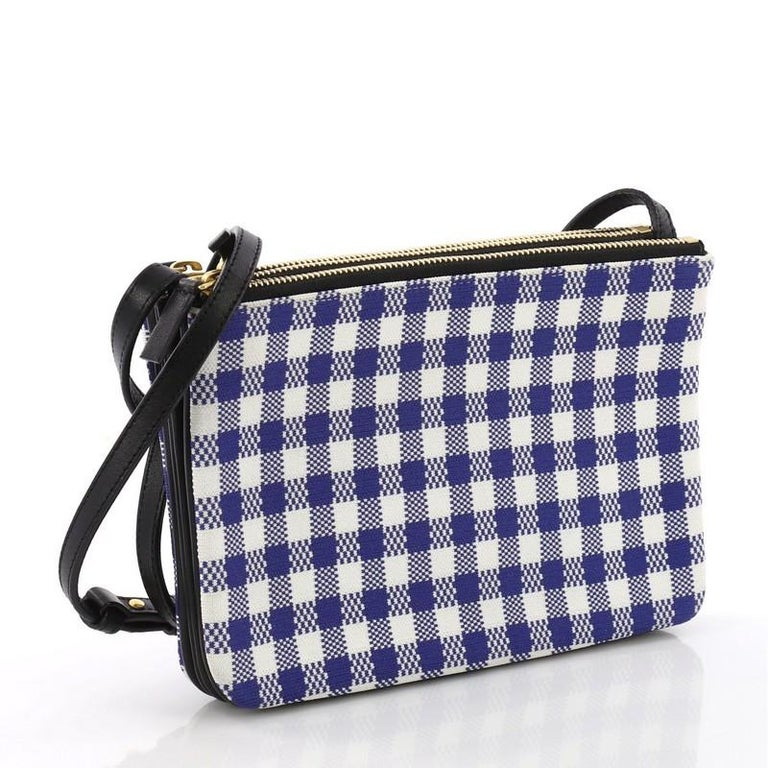 332cdff1e38f Purple Celine Trio Crossbody Bag Printed Jacquard and Leather Small For Sale