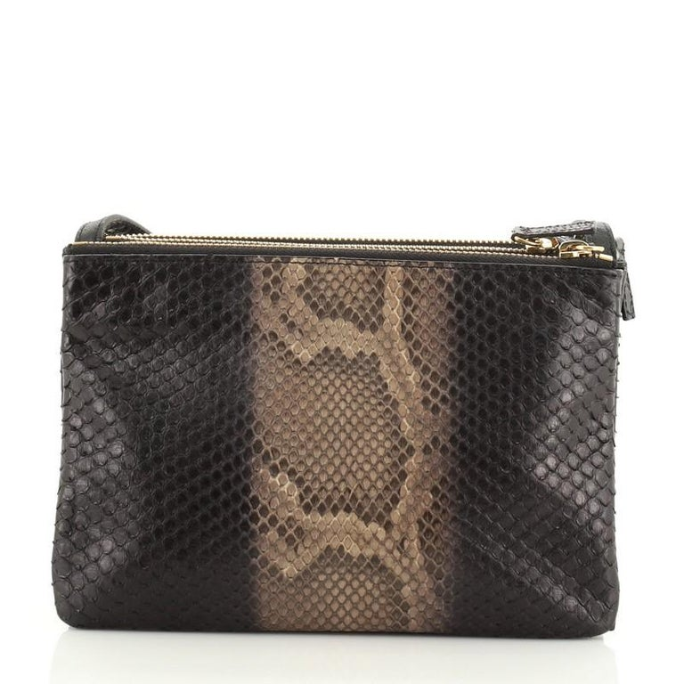 Celine Trio Crossbody Bag Python and Leather Small In Good Condition For Sale In New York, NY