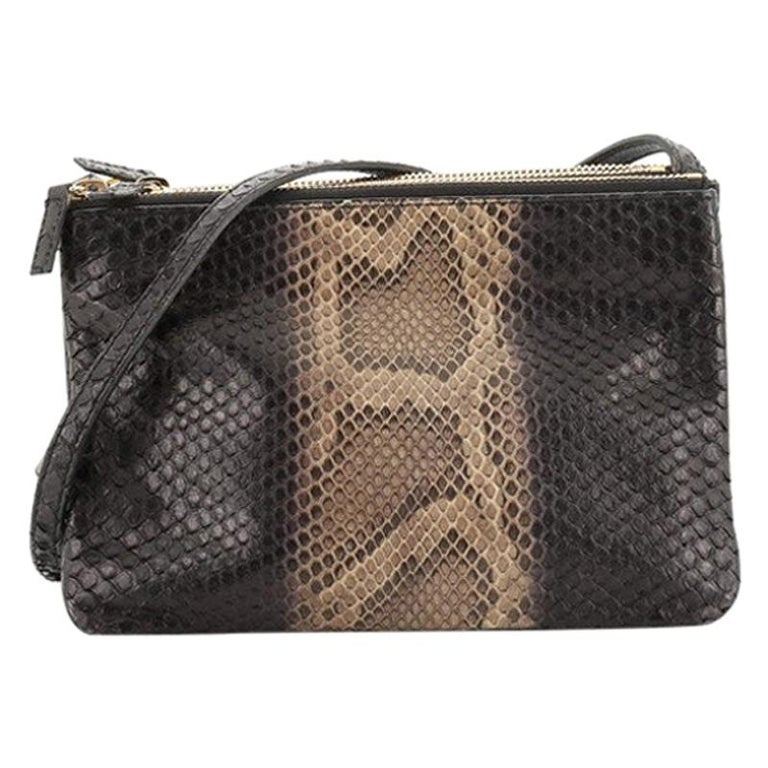 Celine Trio Crossbody Bag Python and Leather Small For Sale