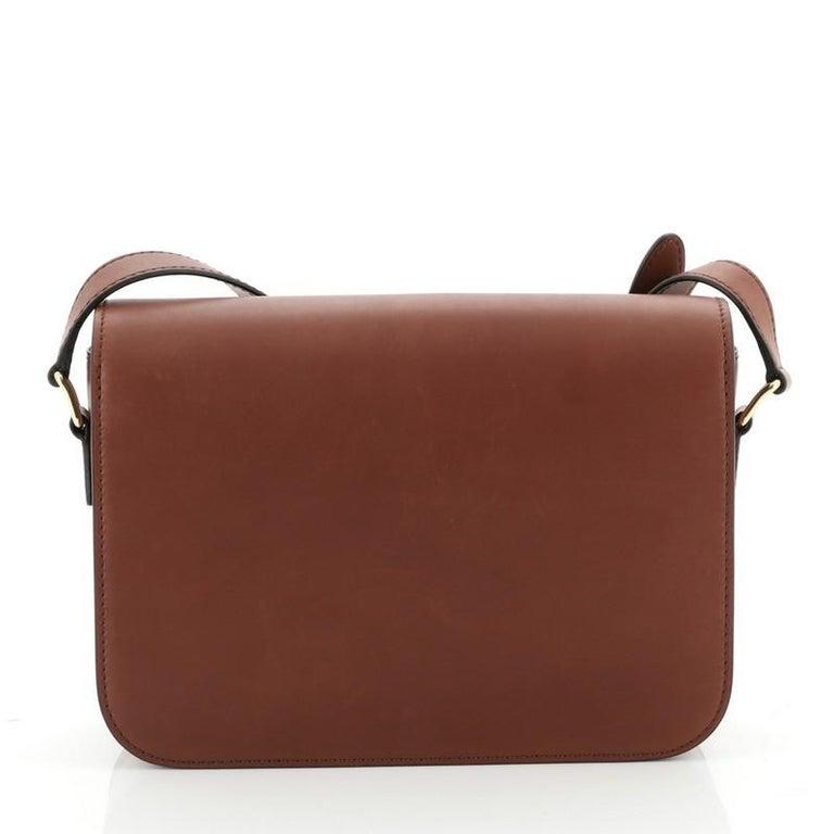 Brown Celine Triomphe Shoulder Bag Smooth Calfskin Medium