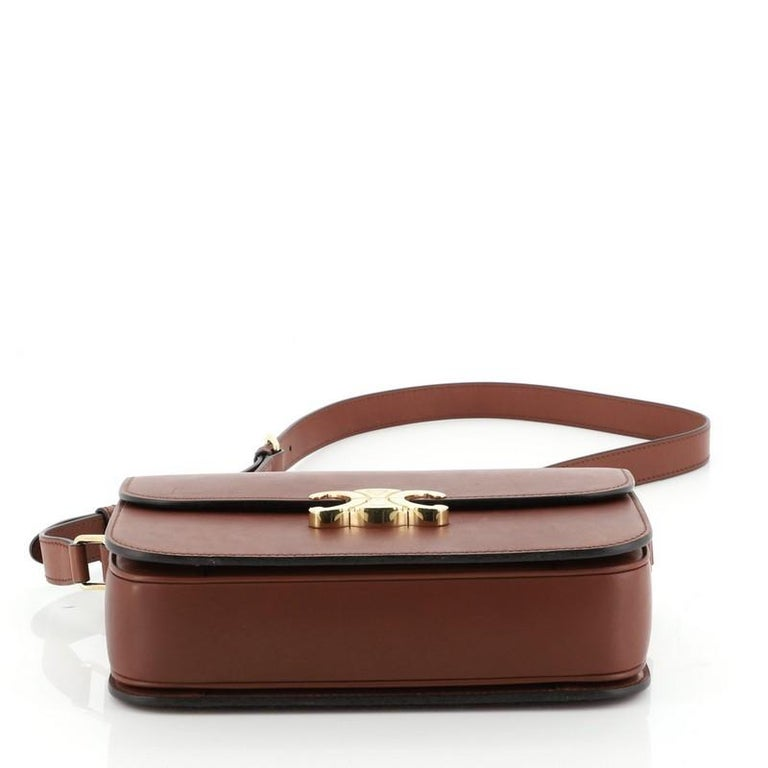 Celine Triomphe Shoulder Bag Smooth Calfskin Medium In Good Condition In New York, NY