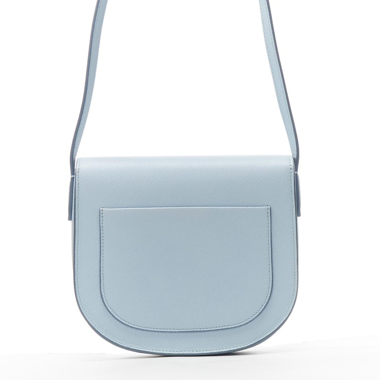 CELINE Trotteur pool light blue leather flap front rounded base  shoulder bag In Excellent Condition For Sale In Hong Kong, NT