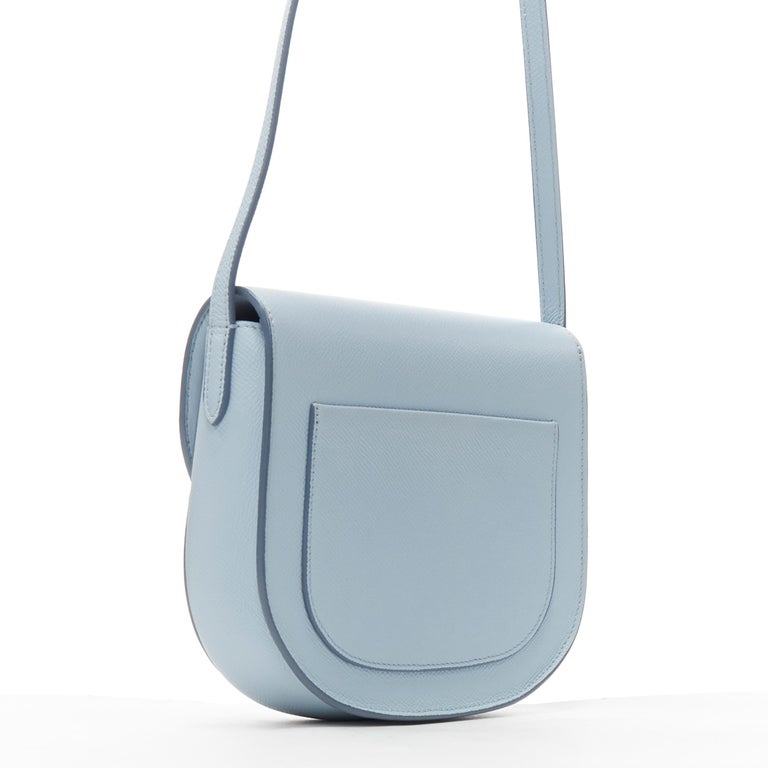 Women's CELINE Trotteur pool light blue leather flap front rounded base  shoulder bag For Sale
