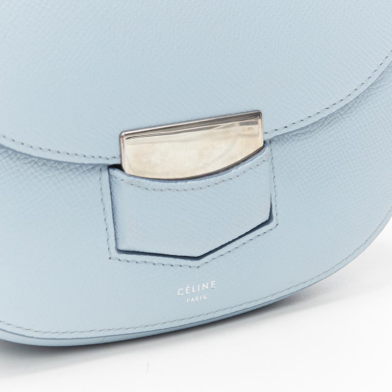 CELINE Trotteur pool light blue leather flap front rounded base  shoulder bag For Sale 2