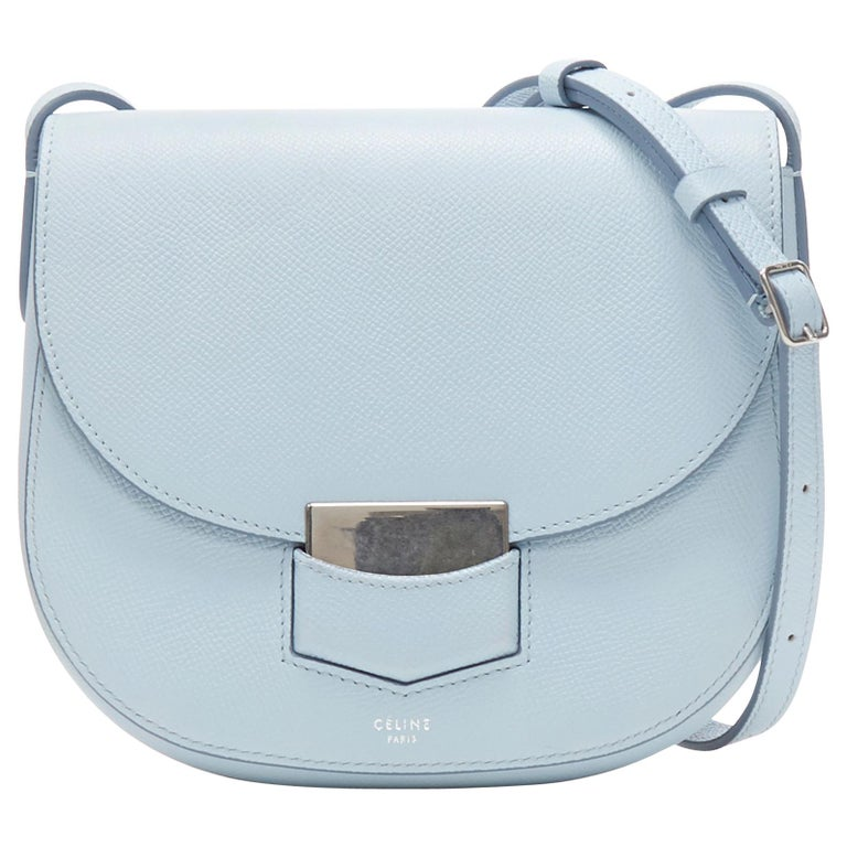 CELINE Trotteur pool light blue leather flap front rounded base  shoulder bag For Sale