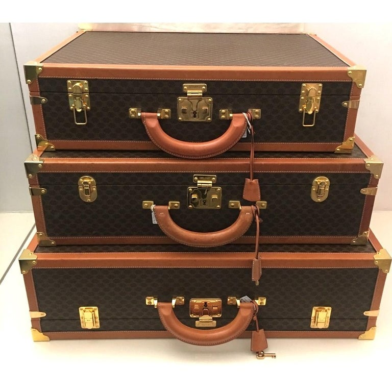 Black CELINE Trunk / Hard Case In Brown Canvas: Large For Sale