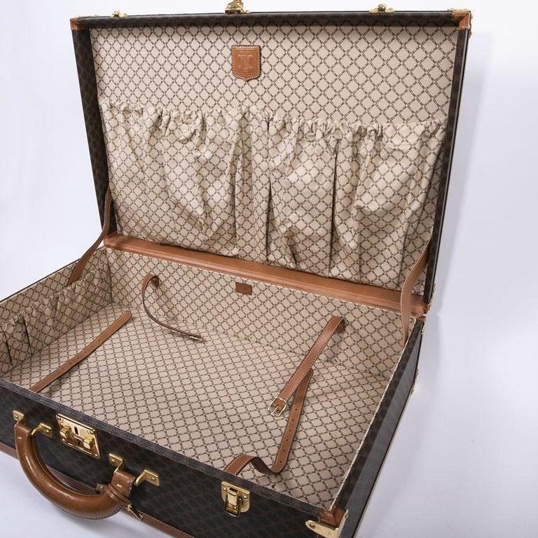 CELINE Trunk / Hard Case In Brown Canvas: Medium For Sale 4