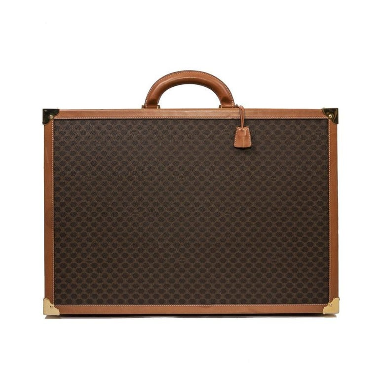 CELINE Trunk / Hard Case In Brown Canvas: Small In Good Condition For Sale In Paris, FR