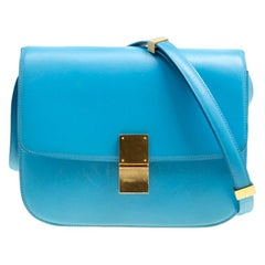 Celine Turquoise Leather Medium Classic Box Shoulder Bag