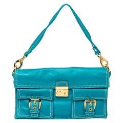 Celine Turquoise Leather Vintage Shoulder Bag