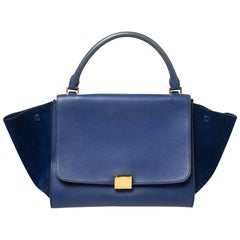 Celine Two Tone Blue Leather and Suede Medium Trapeze Bag