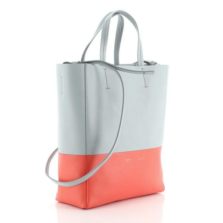 Celine Vertical Bi-Cabas Tote Grained Calfskin Small In Good Condition For Sale In New York, NY